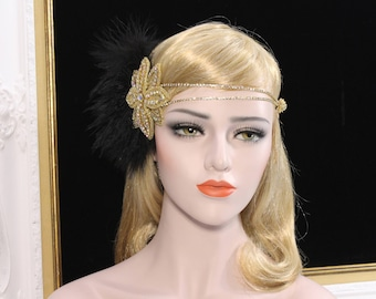 1920s Gatsby Headpiece Black Gold Flapper headband Roaring 20s Great Gatsby feather headband Flapper girl dress Bachelorette Hen Party