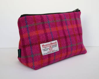 Harris Tweed big make-up bag in bright pink check with water-resistant lining
