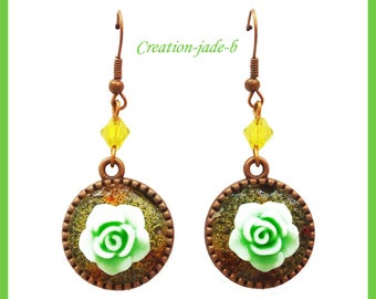 Earrings dangle green - fancy cabochon