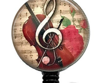 Music Retractable ID Badge - Treble Clef with Rose, Violin & Vintage Music Paper Image onBadge Reel - 254