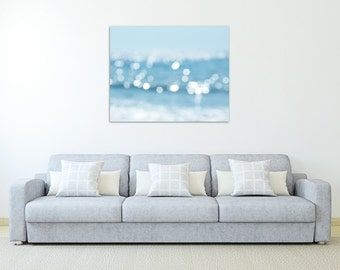 abstract beach photography canvas art nautical wall decor blue large wall art canvas wrap water bokeh photography canvas print beach decor