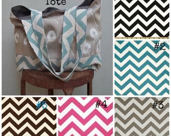 Linen Dandelion Chevron Tote - Many Colors - 2 Pockets - Cotton Twill Lining