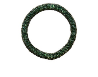 Neon Moss Green Crocheted Beaded Bracelet, Made in Nepal, Handmade, Summer, Neon