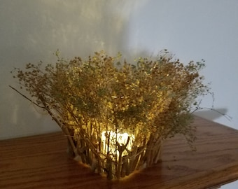 Handmade  Miniature Forest Led Tea Light Candle Holder, Lantern With Dried Flowers and Tree Branches