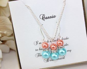 Bridesmaid Gift Coral and Aqua Blue Pearl Jewelry Set Sterling Silver Necklace Bridesmaid Jewelry Bridesmaid Gift  FREE Personalized Card!!!