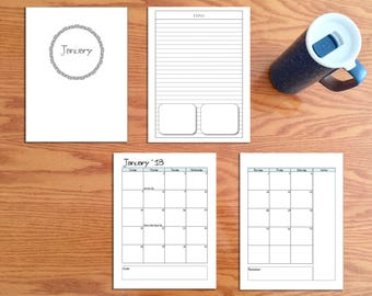 PRINTED 2018 Monthly Calendar Arc Disc Planner Insert: Fits Arc, Happy, and Carpe Diem Planners