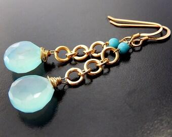 Blue Chalcedony Earrings, Gold Vermeil Drops, Gemstone Teardrop Dangle Earrings