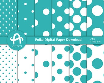 Polka Digital Paper Downloads for Scrapbooking and Crafts Digi Download Teal