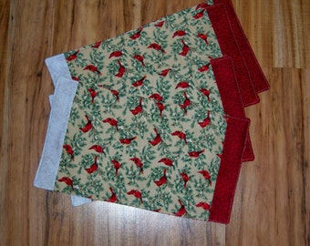 Reversable Christmas Placemats Red Bird