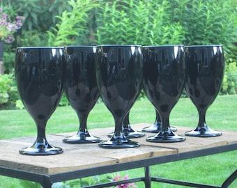 Vintage Libbey Black Amethyst Goblets, Black Amethyst Water Goblet, Wine Glass, Vintage Libbey Goblet~ Garden Girl Vintage