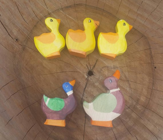 Wooden Duck and Duckling Waldorf toy Ducks Family Wooden