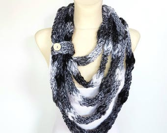 Infinity Scarf Black and White Necklace Scarf Women Knit Loop Scarf Necklace Scarves with Button Black White Scarf Women Gift Mom from Son
