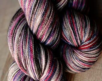 "Sock yarn - 75/20/5 SW Merino/Nylon/Stellina - Autocorrect - ""Total Eclipse Of My Part"""