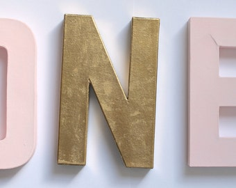 Pink and Gold Letters- First Birthday Decor- ONE Letters- Pink and Gold Birthday- Pink and Gold Birthday Decor