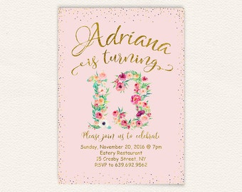 Teen birthday, floral invitation, gold glitter, 13th birthday, birthday invitation, birthday party, watercolor floral, pink and gold 70