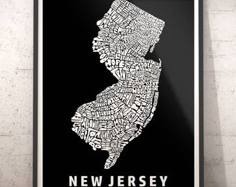 New Jersey map art, New Jersey art print, New Jersey typography map, New Jersey neighborhood map with title, several color options
