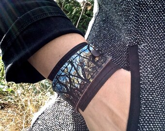 Leather Cuff Unisex Wrap, Tree Tangle Digital Photo Print on 100% Genuine Leather, * SALE * Coupon Codes