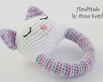 Crochet cat toy Cat rattle toy Rattle kitty teething toy Stuffed teething cat  Newborn gift Cute baby girl rattle toy Animal rattle toy