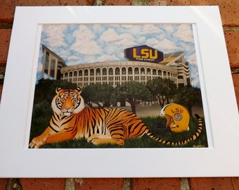 Christmas Sale!! REDUCED PRICE!! LSU Tiger Stadium Print/White Mat