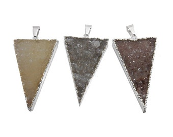 Druzy Triangle Pendant with Silver Electroplated Edges LARGE druzy  (S95B21-05)