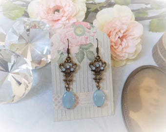 Victorian brass and blue glass earrings