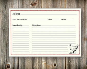 Printable Recipe Card, Country Chicken Recipe Card, Bridal Shower Recipe Card Gift, 4x6 Kitchen Recipe Card, Instant Download Recipe Card