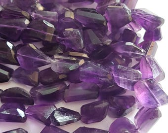 AMETHYST faceted nuggets , 8.5x12  mm to  11x19.5 mm , Faceted Nuggets , 13 inch strand approx