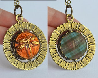 Dragonfly in Amber + Scottish Tartan - Double Sided Spinning Pendant Necklace - Claire Fraser Sassenach Jewelry - Outlander inspired