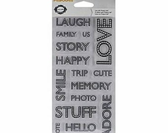 Teresa Collins Project Life Clear Stamp Set by Fiskars ~Words~ 15 pc Craft Stamps