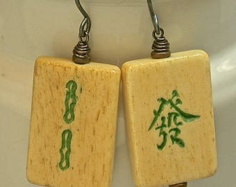 Vintage Chinese Majong Tiles Bone Earrings Green Bead Dangle Drop, Handmade Oxidized Sterling Silver Ear Wires - GIFT WRAPPED