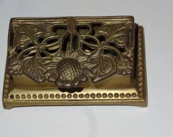 Art Nouveau Antique Brass Stamp Box.Sunflower Design