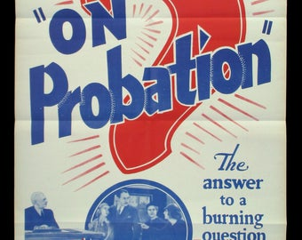 ON PROBATION original movie poster 1940s