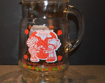 Vintage 1980 Strawberry Shortcake Glass Pitcher