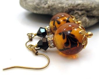 Tiger Print Earrings, Glass Earrings, Gold Earrings. Handmade Earrings, Pretty Earrings, Dangle Earrings, Drop Earrings, TIGRESS