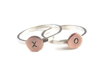 Stacking Rings , Personalized Sterling Silver and Copper, Initial Rings