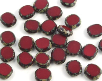 Opaque Dark Red Table Cut Oval 10x9mm Spotted Picasso Czech Glass Beads - 15