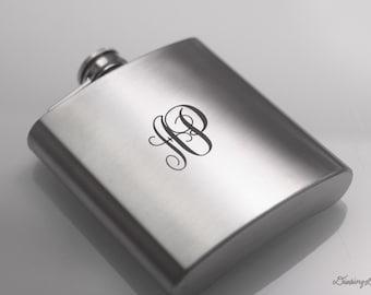 Initials Engraved Monogram  - Laser Engraved Liquor Hip Flask