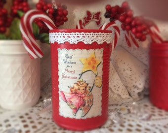 Angel Shabby Chic Retro Tin Can Vase Christmas Decor Kitschy Handpainted Red White Lace Decoupage Vintage Xmas Decoration Table Centerpiece