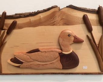 Duck in Pond Intarsia