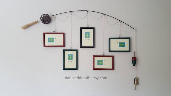 Fishing Pole Picture Frame - Brown or Silver Pole - 5 - 4 in x 6 in Picture Frames - Your Choice of Frame Colors