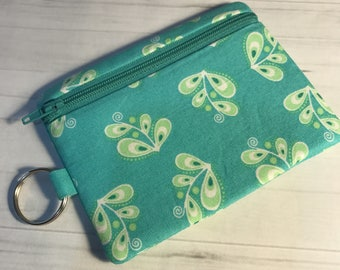 Zipper Coin Card Holder Mini Wallet Pouch Turquoise