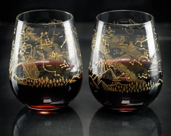 Night Sky Star Chart Stemless Wine Glasses Southern Hemisphere (Pair) | Astronomy Metallic Gold Stars Space Science, Star Map Constellation,