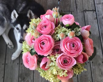 Pink & Green wedding bouquet with matching boutonniere pink ranunculus with viburnum