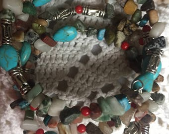 Ooak turquoise and river rock chip memory Wire bracelet