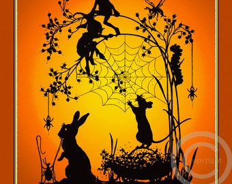 Whimsical Silhouette fairy Print, The Seed Gatherer's, Elfs, Bugs, Spiders and Rabbit Shake Seeds From Tree, Giclee Art Print, 11x14, 1920's