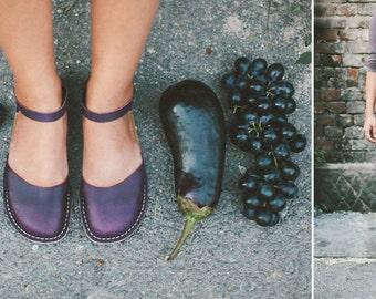 Leather Sandals, Summer Sandals, Women Sandals, Eggplant Sandals, Summer Flats, Closed Toe, Casual Sandals, Summer Shoes, Slingback