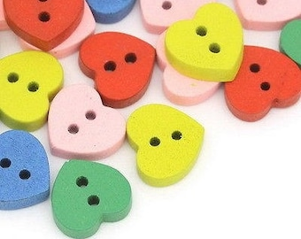 12 heart 12 mm wooden buttons