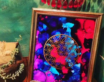 Framed Flower of Life Art
