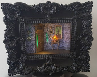 Haunted Mansion Hallway - Black Frame - LIGHTED - Haunted Mansion Collection, 3-D, Shadowbox, handcrafted, original,