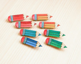 Pencil art artist drawing badge brooch pin wooden wood painted gift present idea